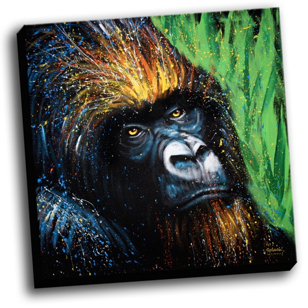 Gorilla Colorful Art Printed on Stretched Framed Ready to Hang Canvas