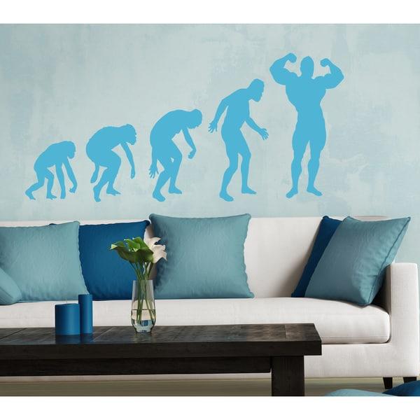 Evolution Athlete Wall Art Sticker Decal Blue