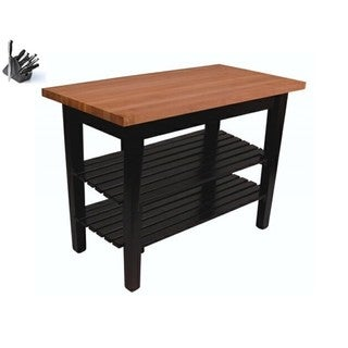 Butcher Block Table with 2 Shelves and 13 Piece Knife Set