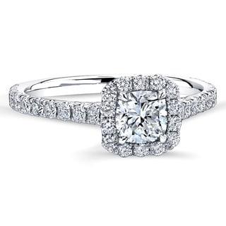 18k White Gold 1 1/5ct TDW Cushion-cut Center Diamond Halo Engagement Ring (G-H, VVS1-VVS2)