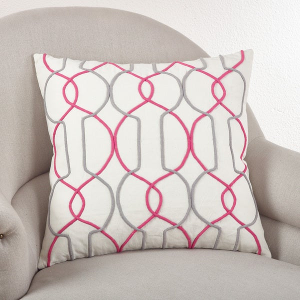 Cord Embroidered Down Filled Throw Pillow