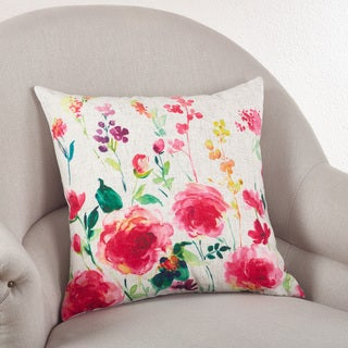 Floral Down Filled Linen Blend Throw Pillow