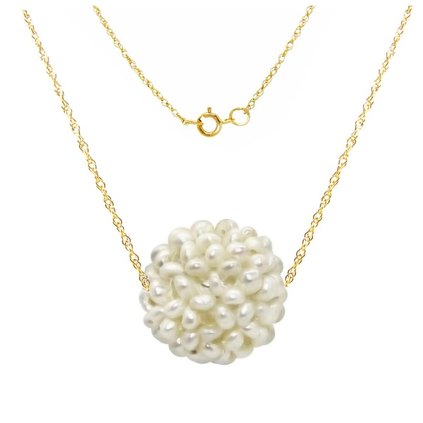 DaVonna 14k Yellow Gold Chain Necklace with 18-19mm Snowball Design White Freshwater Cultured Pearl as Pendant, 18""