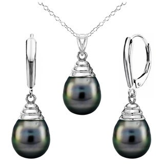 DaVonna Sterling Silver 10-11mm Black Off Shape Tahitian Cultured Pearl Pendant and Lever-back Earrings Set (18 in)