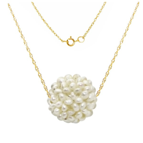 14k Yellow Gold Chain Necklace with 15-16mm Snowball Design White Freshwater Cultured Pearl as Pendant, 18""