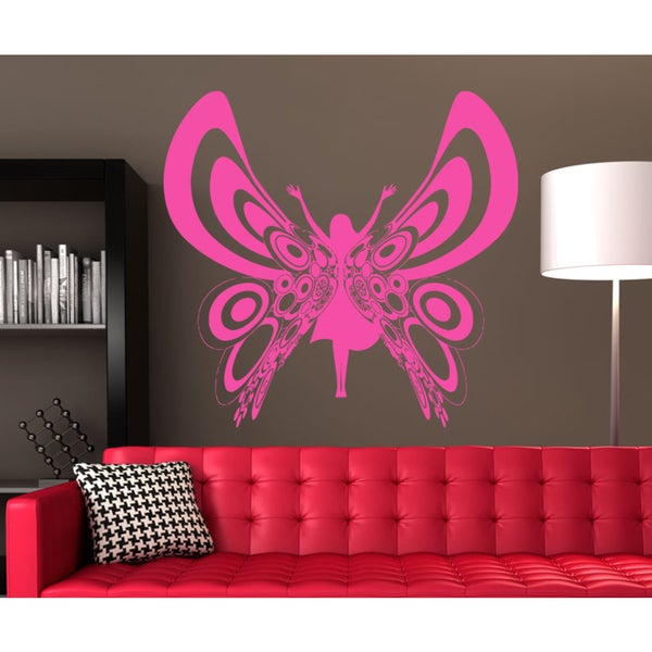 Butterfly Girl Wall Art Sticker Decal Pink