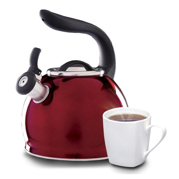 Gibson Mr Whistle Shine 2.1 Quart Red Tea Kettle
