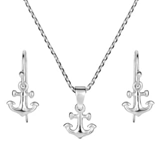 Mini Nautical Anchor Sterling Silver Necklace Earrings Set (Thailand)