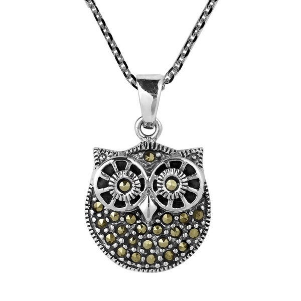 Big Eyes Owl of Wisdom Marcasite Sterling Silver Necklace (Thailand)