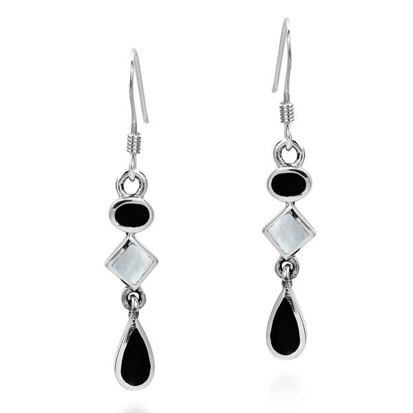 Geometric Black and White Drop .925 Silver Dangle Earrings (Thailand)