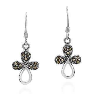 Modern Marcasite Flora Cross Sterling Silver Dangle Earings (Thailand)