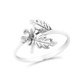 Sweet Daisy Vine Wrap Floral Sterling Silver Band Ring (Thailand)