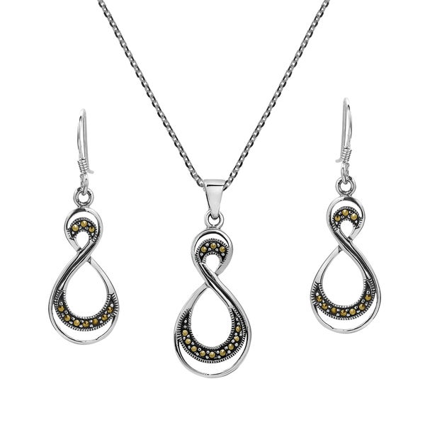 Handmade Double Eternity Marcasite .925 Silver Necklace Earrings Set (Thailand) 18135617