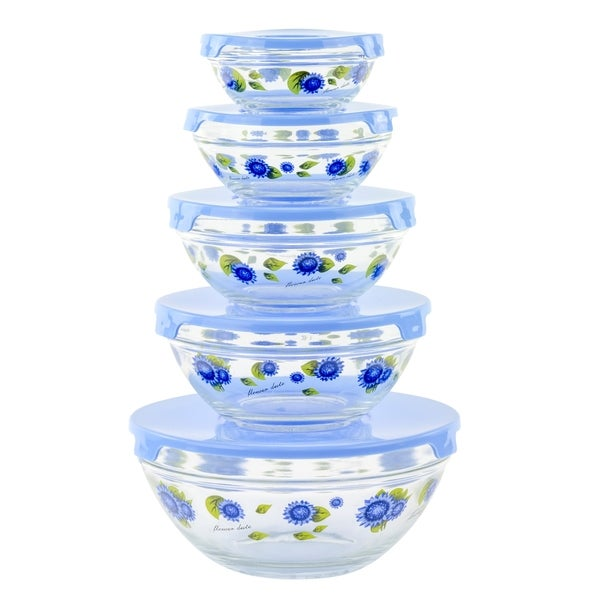 10 Piece Glass Food Storage Container Set With Lids and Flower Design 18135654