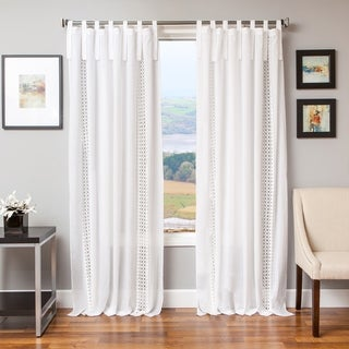 Tie Tab Cotton and Linen Macrame Curtain Panel