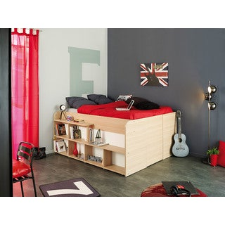 Space Up Beige and White Bed Frame with Storage