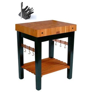 Block End Table with Casters, Hooks, and 13 Piece Knife Set