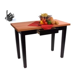Butcher Block Table with Drawer, Casters, and 13 Piece Knife Set