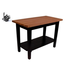 Butcher Block Table with Casters, Shelf, and 13 Piece Knife Set