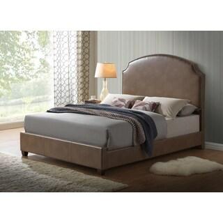 Global Furniture Blanche Walnut Upholstered King Platform Bed