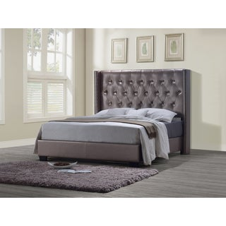 Global Furniture Antique Pearl PU Leather Tufted King Bed