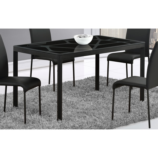 Global Furniture Black Crackle Glass Top Dining Table