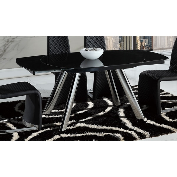 Dining Table with Chrome Legs and Black Tabletop