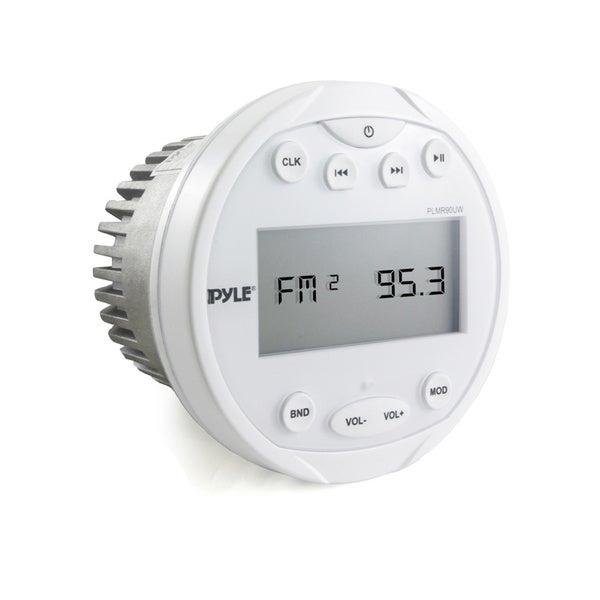 Pyle PLMR90UW Waterproof Bluetooth/ USB/ MP3/ AUX/ AM/FM Radio Round White Marine Digital Media Receiver