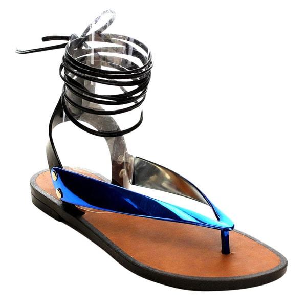 Beston Lace Up Flat Sandals
