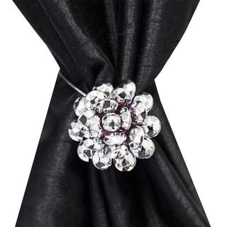 Silver Floral Carnation Magnetic Holdback (Set of 2)