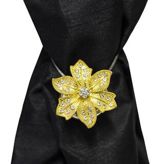 Ornate Gold Floral Carnation Magnetic Holdback (Set of 2)
