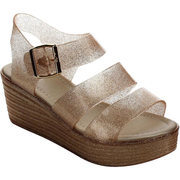 Beston Glitter Jelly Wedge Sandals