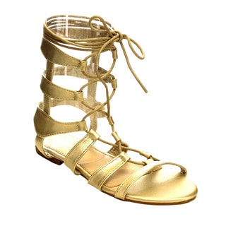 Refresh AC15 Women's Gladiator Lace-up Ankle Strap Flat Heel Sandals