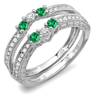 14k White Gold 5/8ct TDW Green Emerald and White Diamond Wedding Band (H-I, I1-I2)