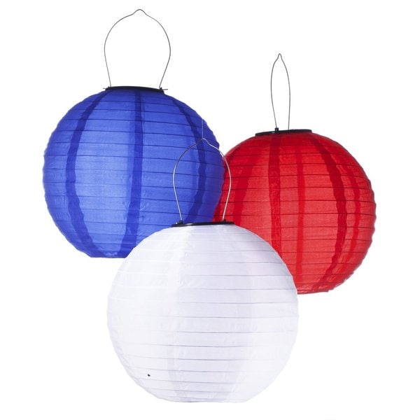 Solar Powered Waterproof LED Chinese Lanterns in Red, White & Blue (Pack of 3)