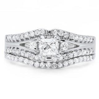14k Gold 1ct TDW Princess and Round Diamond Bridal Wedding Band Set (I-J, I1-I2)