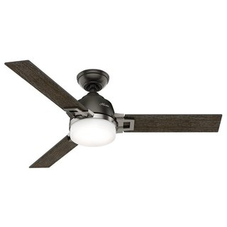 Hunter Fan Leoni 48 inches Noble Bronze and Brushed Nickel with 3 Dark Walnut or Black Oak Reversible Blades