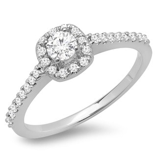 14k Gold 1/2ct TDW Round Diamond Halo Engagement Ring (H-I, I1-I2)