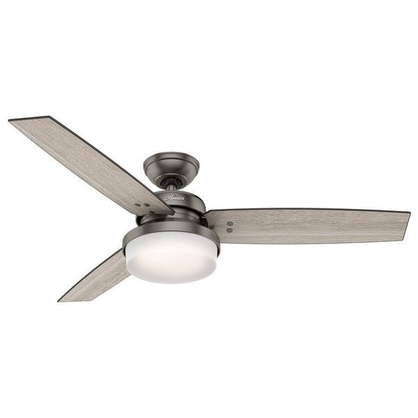 Hunter Fan Sentinel 52 inch Brushed Slate with 3 Light Grey Oak or Grey Walnut Reversible Blades
