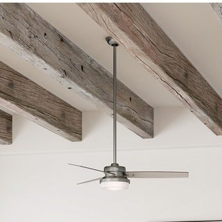 Hunter Fan Sentinel 52 inch Brushed Slate with 3 Light Grey Oak or Grey Walnut Reversible Blades - Brown