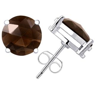 Orchid Jewelry 925 Sterling Silver 8.72ct TGW Genuine Smoky Quartz Studs Earring