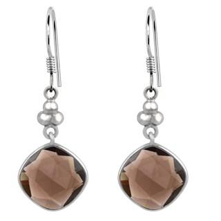 Orchid Jewelry .925 Sterling Silver 10 1/2ct. Cushion-cut Smoky Quartz Gemstone Dangle Earrings