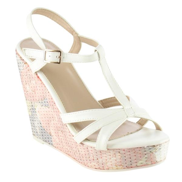 Beston T-Strap Floral Wedge Sandals