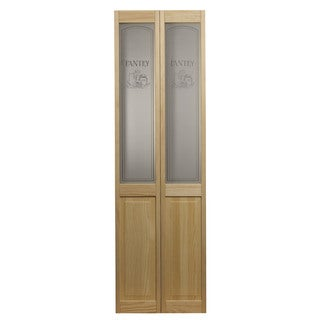 AWC 647 Pantry Glass 30-inch x 80.5-inch Unfinished Bifold Door
