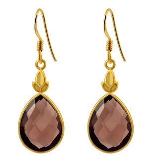 Orchid Jewelry 14k Yellow Gold Over .925 Sterling Silver 13 1/2ct Natural Teardrop Smoky Quartz Gemstone Earrings