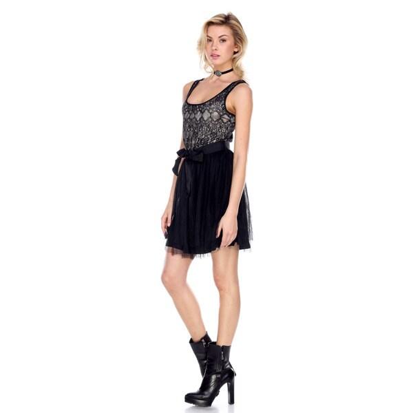 Stanzino Women's Mini Black Dress with Waist Tie