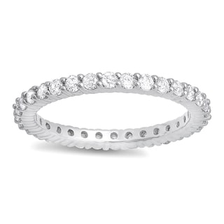 14k White Gold 1ct TDW Round Diamond Eternity Anniversary Wedding Band (H-I, I1-I2)