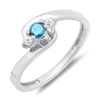 Sterling Silver 1/4ct TDW Round Blue and White Diamond 3-stone Bridal Promise Ring (I-J, I2-I3)