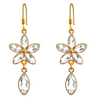 Orchid Jewelry 18k Yellow Gold Over .925 Sterling Silver 10ct. Genuine White Topaz Gemstone Dangle Earrings