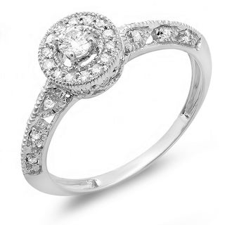 14k White Gold 2/5ct TDW Round Diamond Bridal Halo Vintage Milgrain Engagement Ring (H-I, I1-I2)